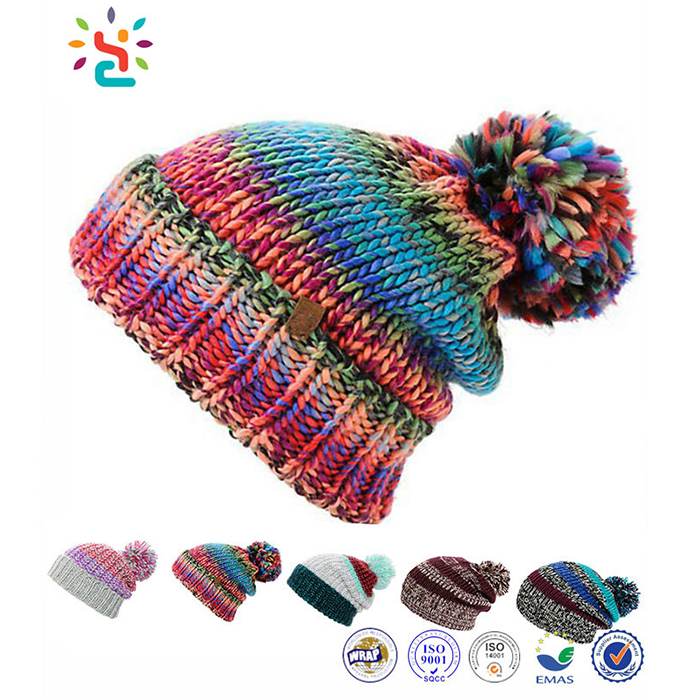 New Crochet Rasta Pom Beanie Tam Hat Womens Ladies Jamaica Colorful Rasta Hat Knitting