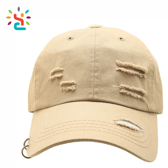 6 panel pierced baseball cap with metal ring Men Women Bone Cap Dad Hat Casquette Gorras