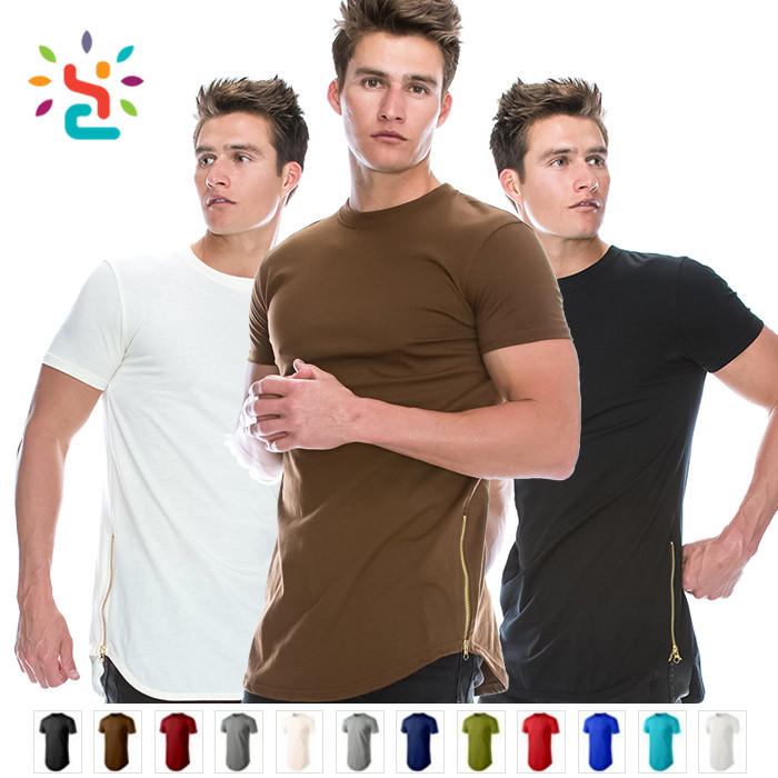 Custom plain streetwear t shirt with side zipper mens tall tee side drop tail zip up tee sports shirts wholesale