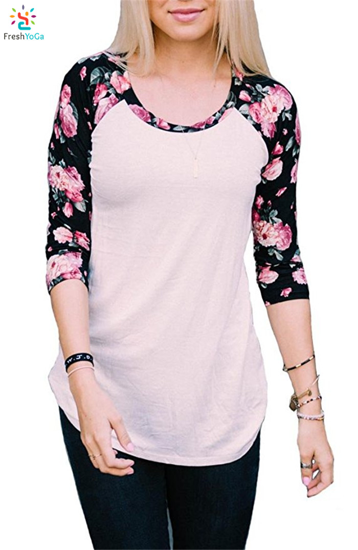 Fashion raglan 3/4 sleeve tee shirt womens baseball t shirt floral ladys print tees custom