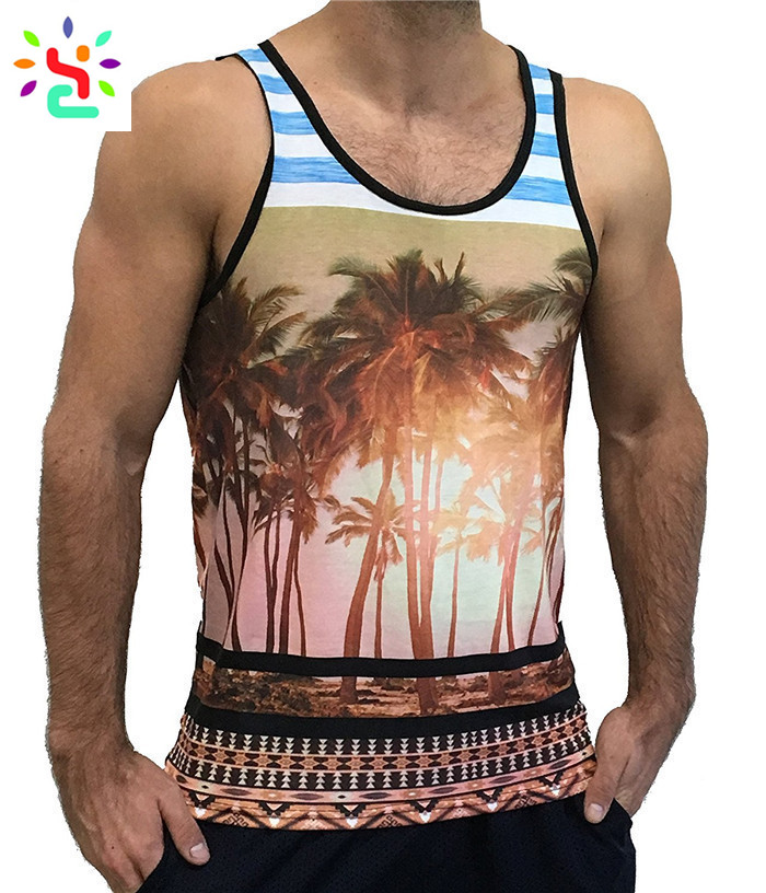 Custom printed tank top mens all over print singlet slim fit sleeveless t shirt casual pullover vest
