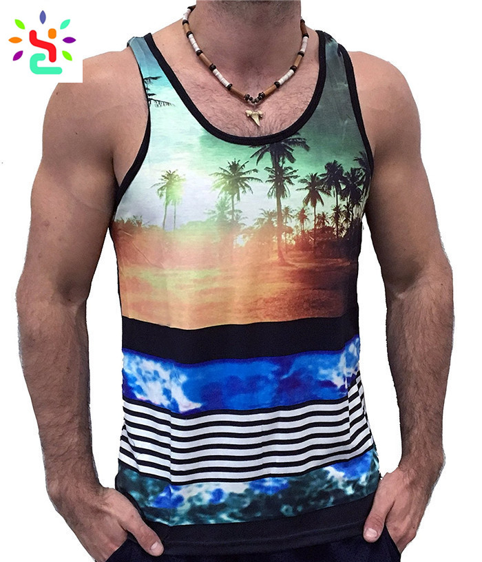 e9771aa0c564d ... Custom printed tank top mens all over print singlet slim fit sleeveless  t shirt casual pullover ...