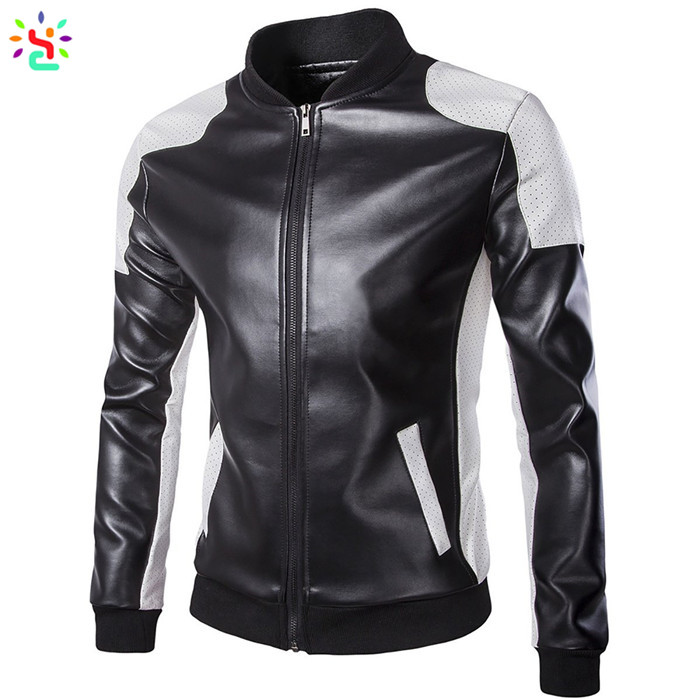 Pu leather jackets bomber slim fit leather jacket men slim fit over coat mens blank jackets wholesale - 副本