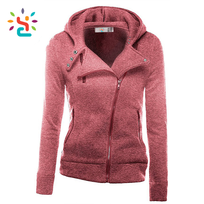 Custom full zipper girls hoodies dri fit side zip plain hoody workout jackets Customized embroidered logo sweatshirt with three