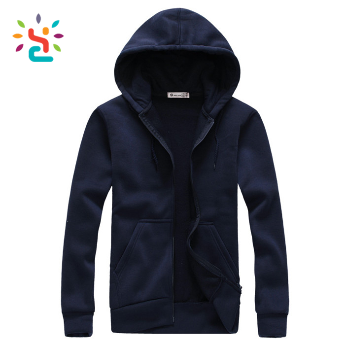Mens fashion dark blue wholesale Plus Size hoodies plain blank cotton zip up hoodies