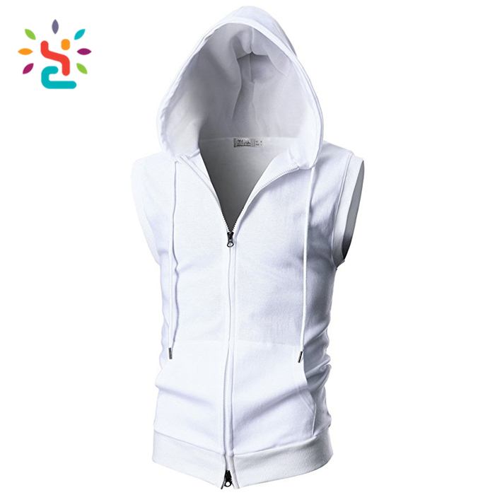 Mens Active Casual Fashion Lightweight Sleeveless Zip-up Vest Tank Hoodies
