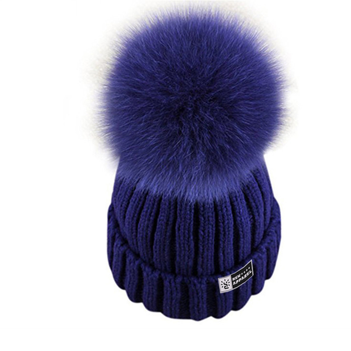 1cac4e3eb90 Detachable Fur Balls Slouch Cap Wholesale Polar Fleece Beanie Hat Girls  Fashion Hand Knitted Hats Big Pom ...