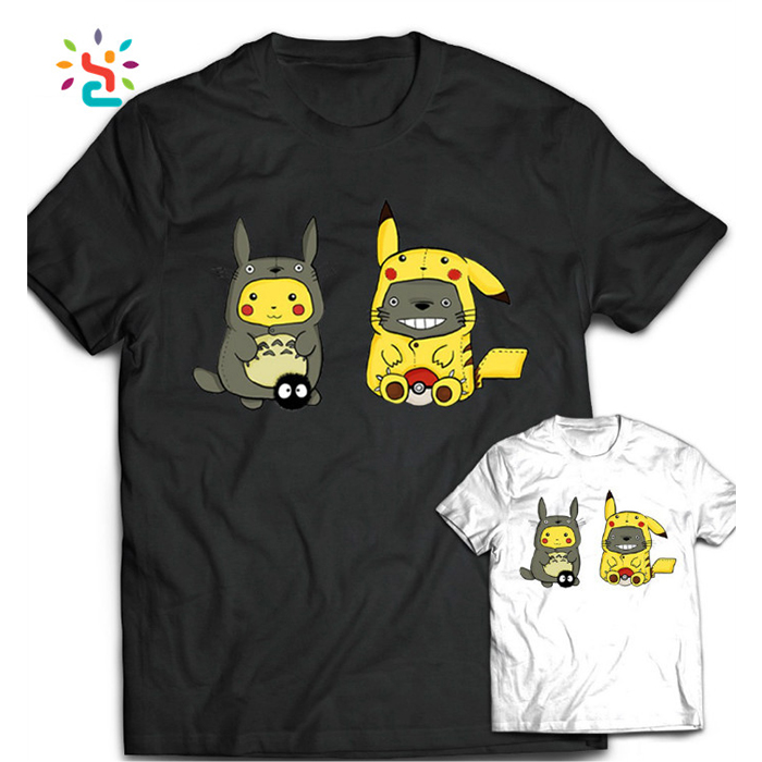 Custom Blank Cotton Totoro Pokemon Go T Shirt Geek Funny Design Pikachu Printed Top Tee Summer Short Sleeve T-shrts