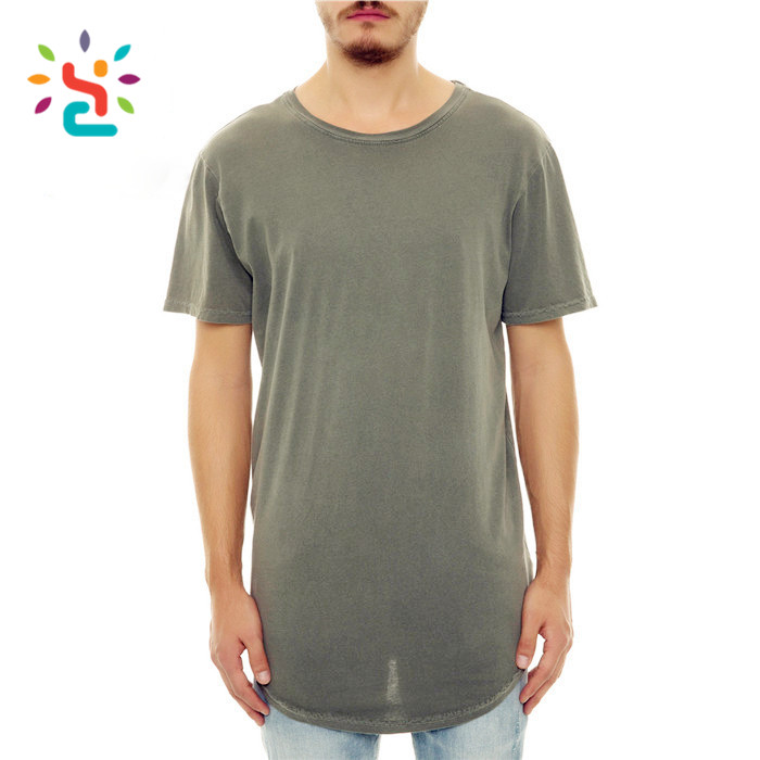 Drop tail long line tee men oversize blank curved hem t-shirt Solid Color soft mens t shirt
