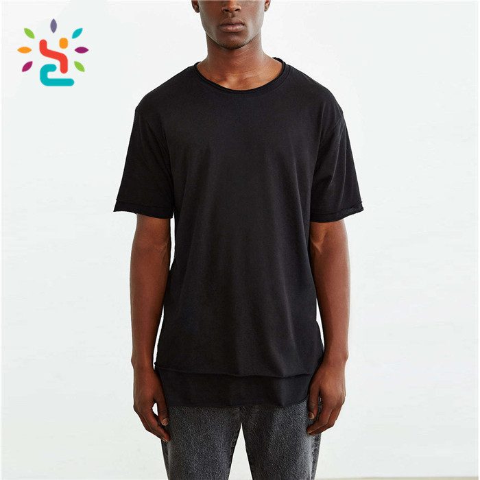 ... Drop tail long line tee men oversize blank curved hem t-shirt Solid  Color soft ... 67a4c8602