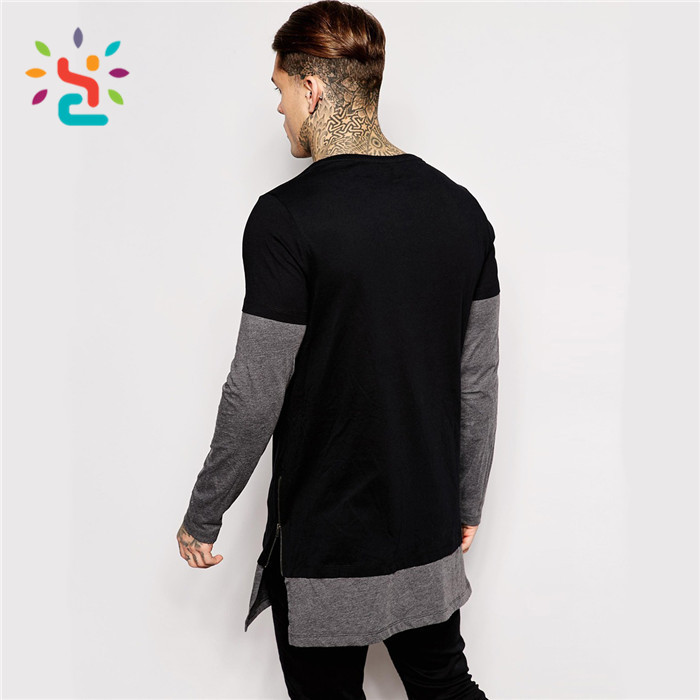 Curved Hem side zipper Tall Tee Long tail two tone t shirt custom with side zip round neck t-shirt oversized tees men
