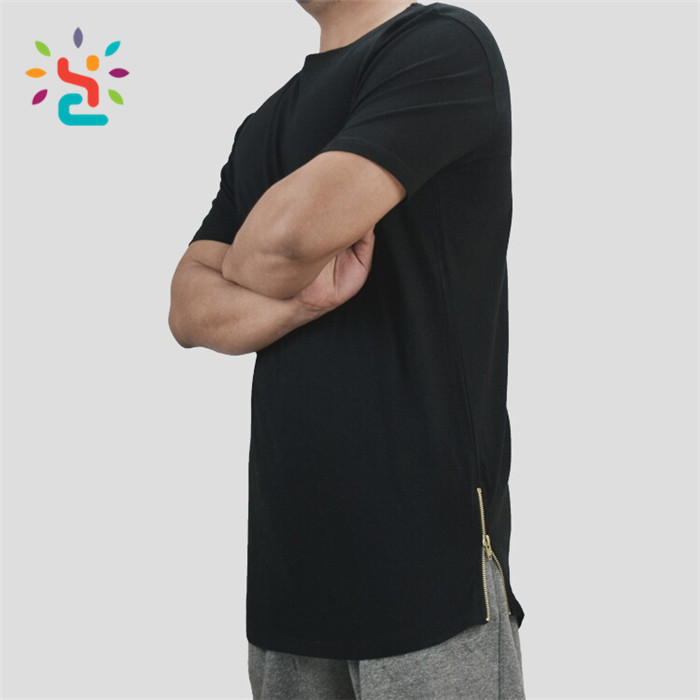 Custom streetwear t shirt with side zipper mens tall tee side drop tail zip up tee sport shirts wholesale