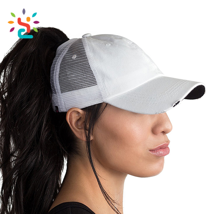 Factory Prices white baseball cap plastic cover ith hair ponytail baseball cap