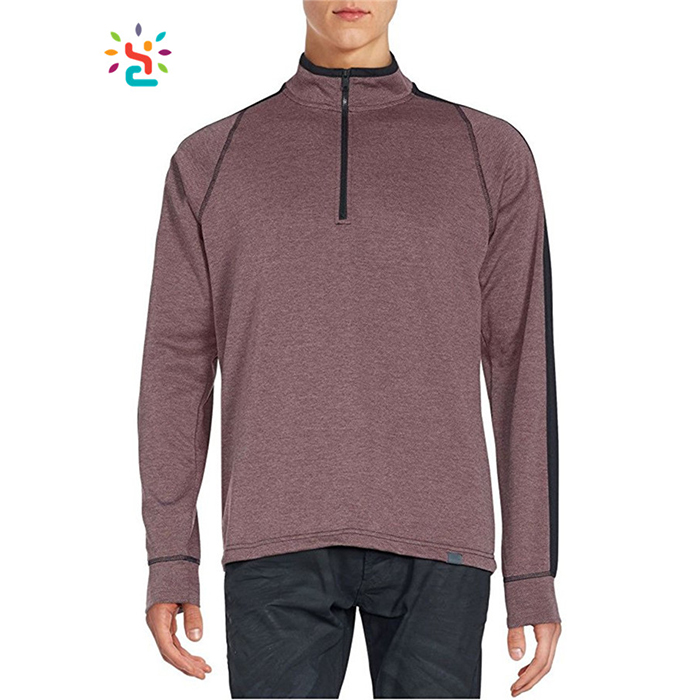 Men's 1/4 Zip Pullover Active Sweatshirt Wholesale Sweat Suits Tri Blend 82% Polyester,13% Rayon,5% Spandex