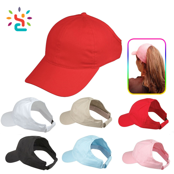 100% Cotton Womens Ponytail Pony Tail Flex Caps baseball Cap Visor Visors Summer Sun Hats ponycap sports Hat