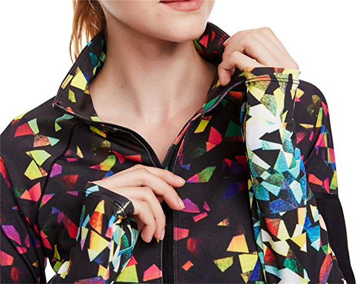 Women's Workout Yoga Track Jacket 1/2 Half Zip Pullover Running Panelled Long Sleeve Tee Floral Print