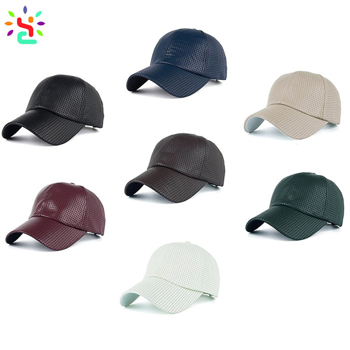 Wholesale leather hat cowhide baseball cap custom 6 panel hats curved brim mens leather top hat