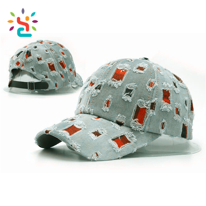 d5e05a2340dbb ... Distressed Dad hats Multi square hole 6 panel style denim baseball cap  custom patch full hole ...