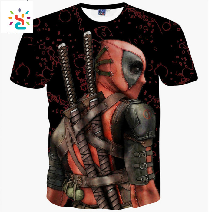 New 2017 Deadpool Tops Tee Shirts 3d Anime Print Deadpool T Shirt Funny Graphic T-shirts