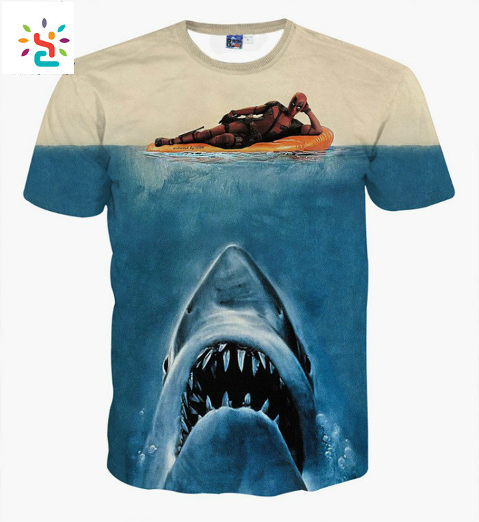 Sublimation Printing Deadpool Shark Shirt Funny Graphic T-shirts