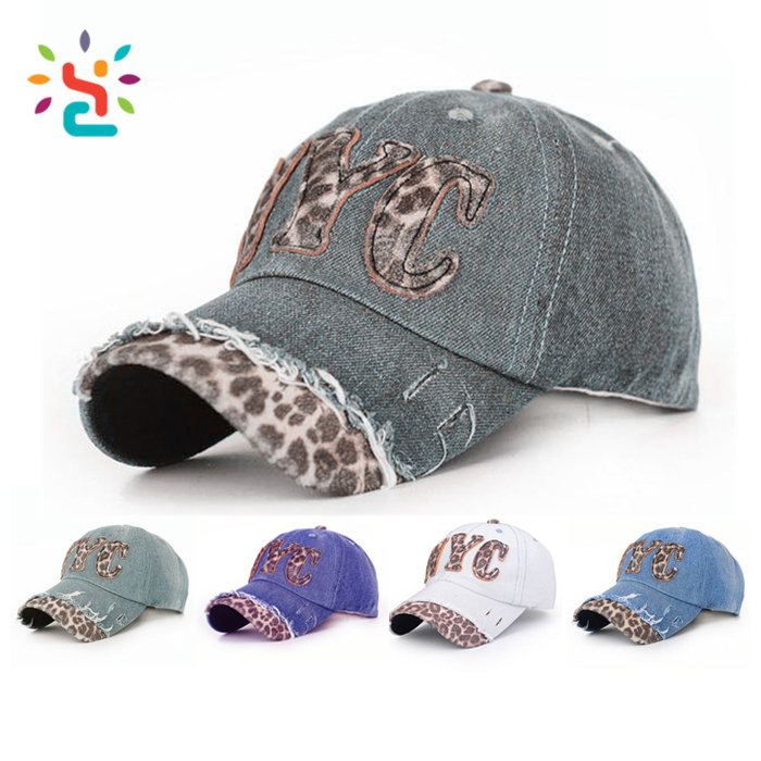 Leopard print Baseball cap Street dance Punk Hip hop visor hat NYC letter applique dad hat