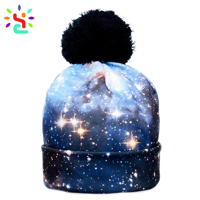Wholesale sublimation beanie custom logo beanies unisex hats all over print winter cap pom pom hat