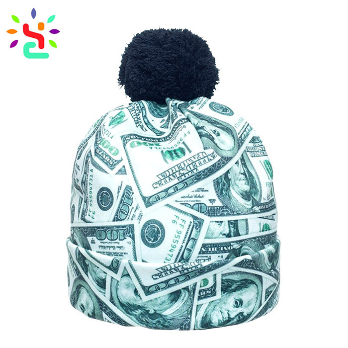 Wholesale sublimation beanie knit cap custom print pom pom beanie fashion unisex hats
