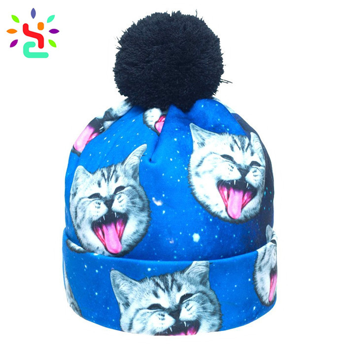 Wholesale sublimation beanie unisex hats custom digital print beanies cute knitted cap pom pom hat