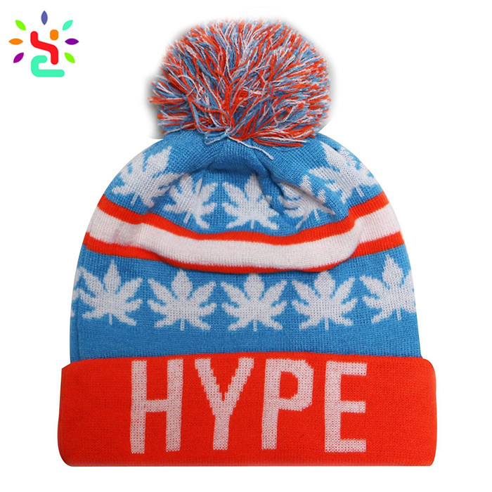 81543121 ... Wholesale beanies mens winter beanie knit cap jacquard leaves pom pom  beanie cap men ...
