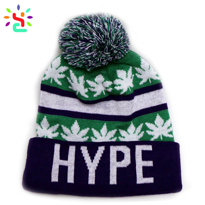 d29d33c5 Wholesale beanies mens winter beanie knit cap jacquard leaves pom pom  beanie cap men ...