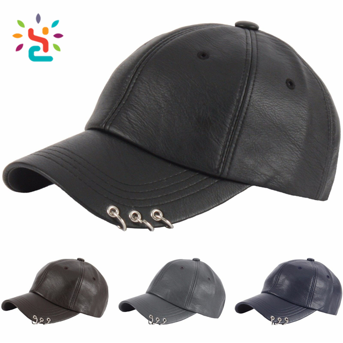 Pierced cap with private label custom Plain Leather dad hat no label hats Unisex couple two ring snapback caps and hats