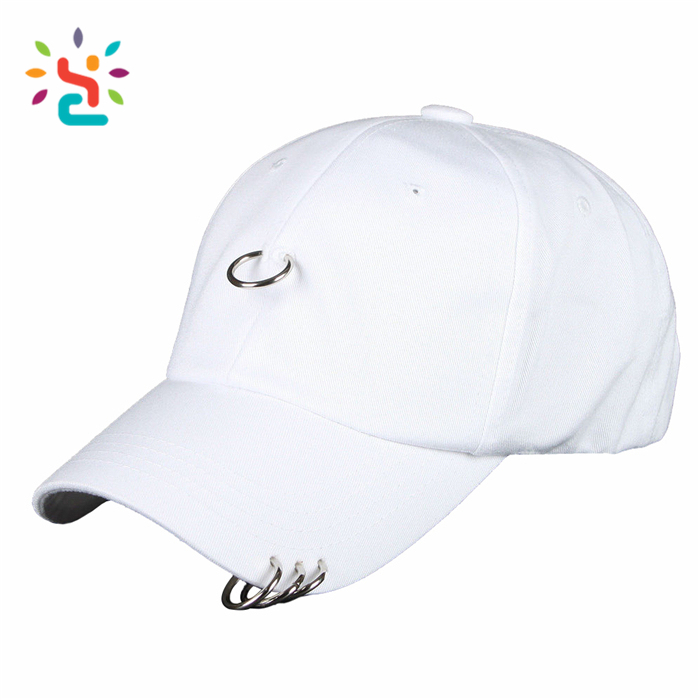 White cotton cap own metal ring baseball caps custom 6 panel snapback hat