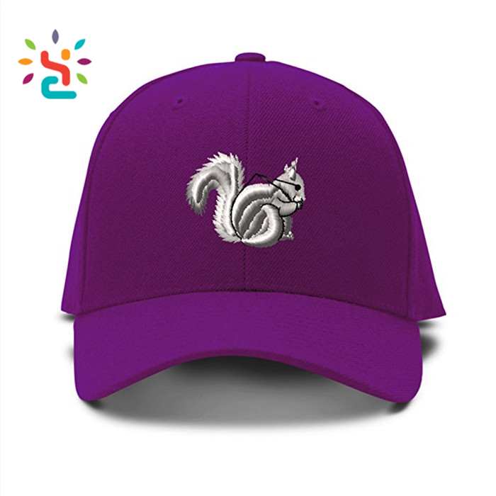 Squirrel embroidery pattern dad hat custom embroidered Adjustable Baseball Cap sports caps with embroidery eyelest