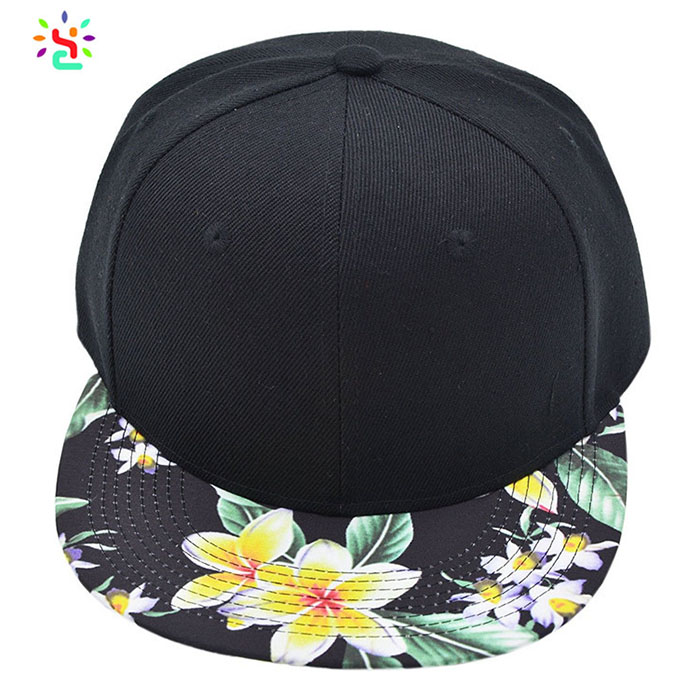 Wholesale snapback plain cap flat brim hats golf hip hop hat with adjustable back strap hats floral brim snapback caps custom