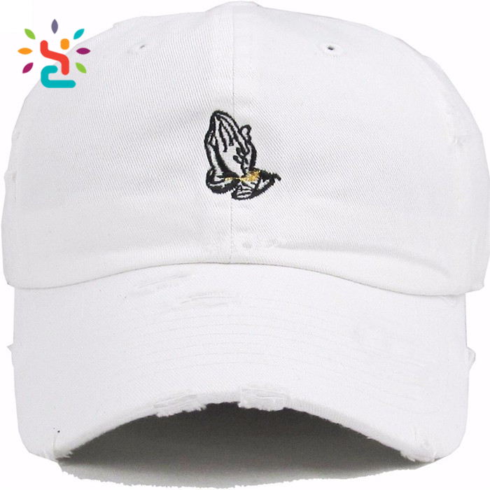 Embroidery gesture label white baseball cap blank metal strap machine eyelet snapback caps
