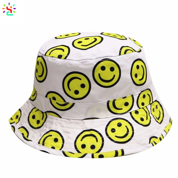 Wholesale emoji bucket hat custom digital print summer hat sun protection beach hats and caps