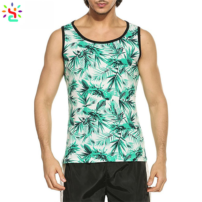 China custom printed tank tops all over print mens tank top slim fit sleeveless pullover t shirt vest