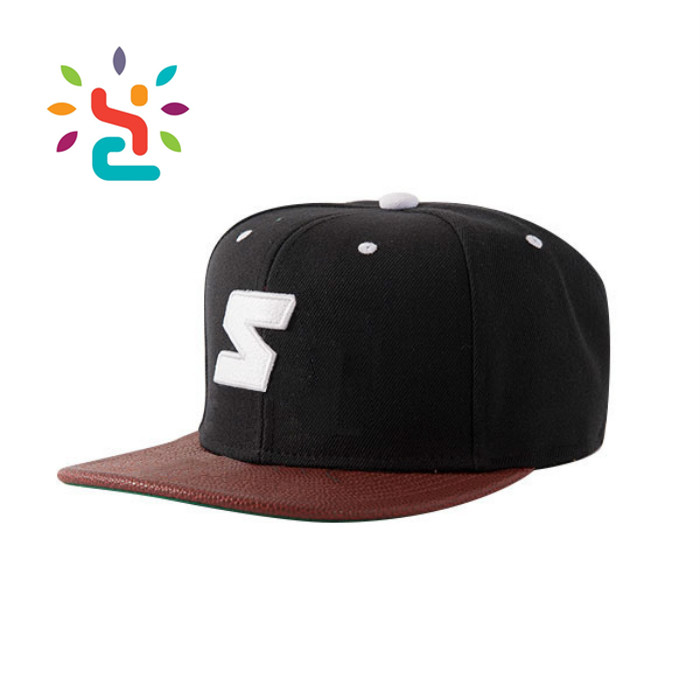 1651f1cc062 High Quality Leather Brim Cap Black Men Women Sport 6 Panel Snapback ...