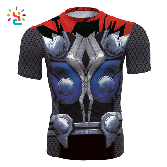 Custom Mens Printed 3d T Shirts Superman The Avenger Character Thor Printed Dry Fit Short Sleeve Tee Shirt Mens