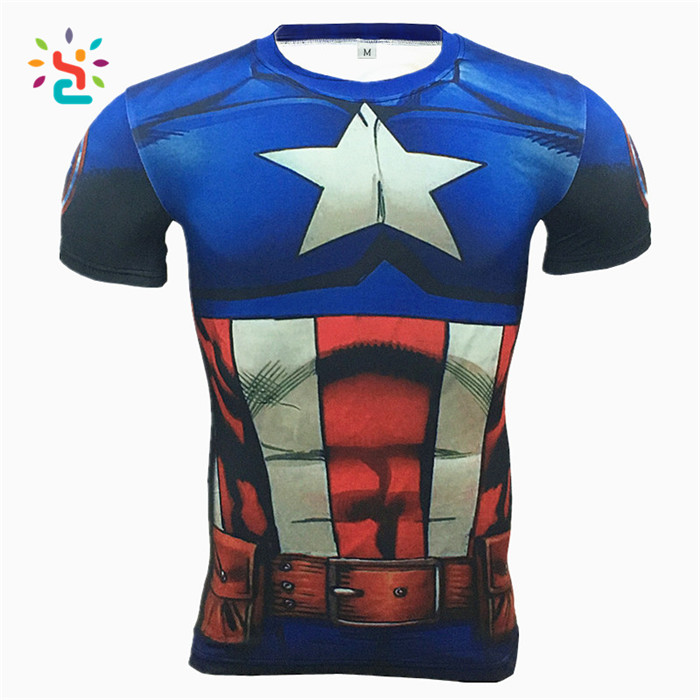 Captain America 3d Printed Fast Dry Fit Short Sleeve Gym Men Tee Shirts The Avenger