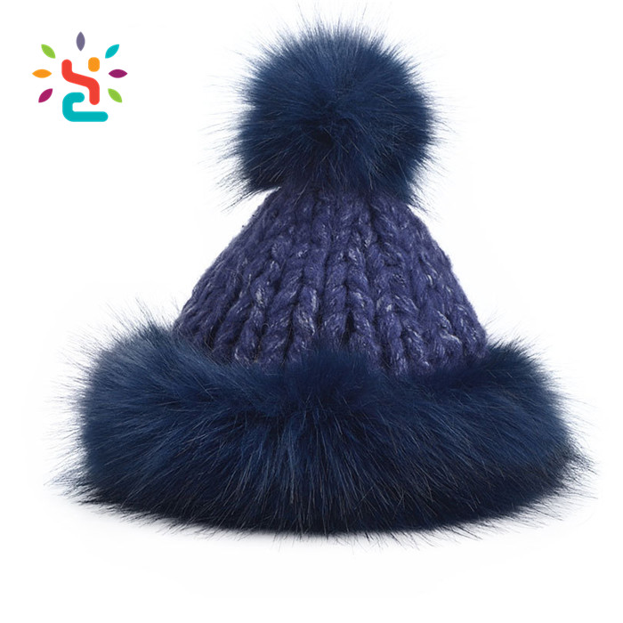 Russian Faux Fur Hat Pom Pom Ball Beanie Snowflake Black Color With Around Fur