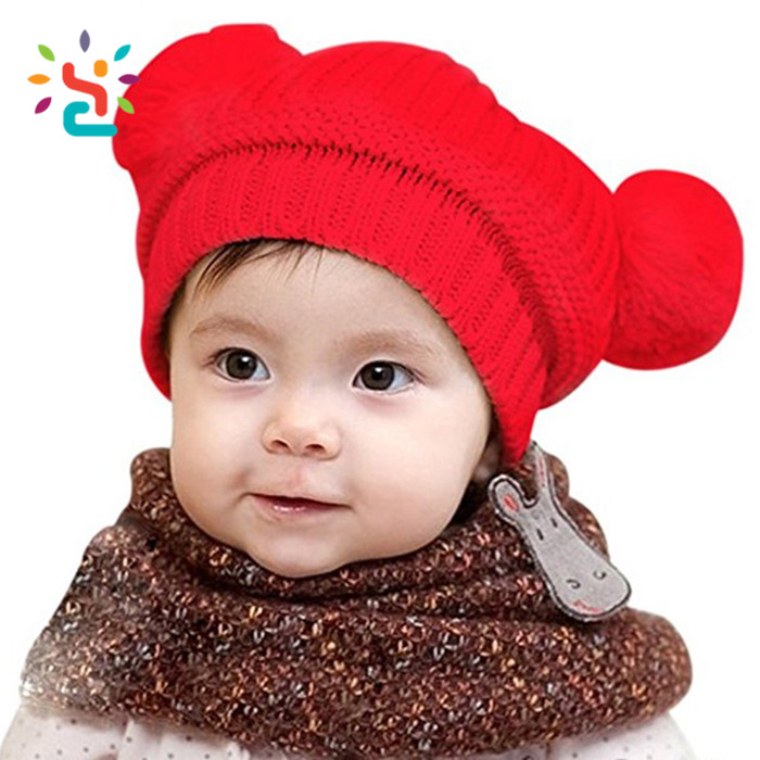 Funny Children Knitted Hat Baby Kids Winter Twist Grain Knitting Hats With Two Balls   Pom Pom Toddler Beanie Cap