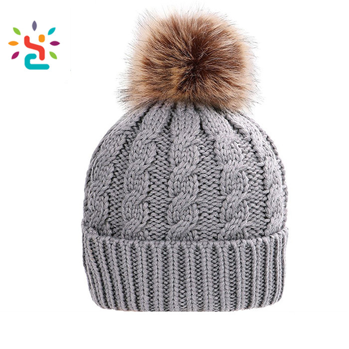 a39d05818c82a 2018 Faux Fur Ball Beanie Hat Yellow Pom Pom Knitting Women Hats ...