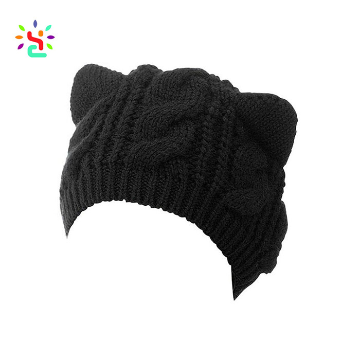Boutique Women Funny Acrylic Cat Ears Black Knitted Beanie Hats