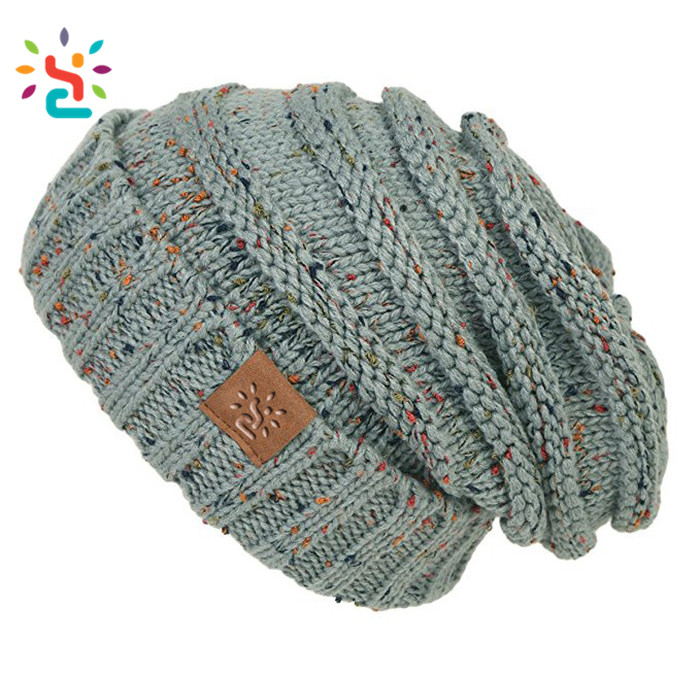 Tri Blend Leather Label Beanie Cotton Polyester Spandex Triblend Winter Women Hats