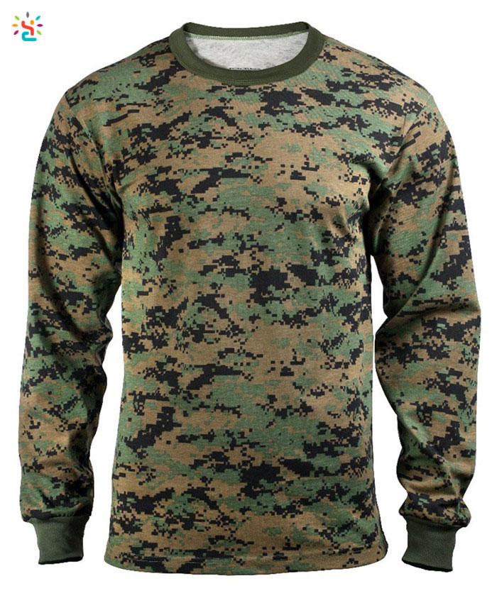 Wholesale Camo long sleeve t shirts custom army t shirts 60 cotton 40 poly casual tee for men shirt