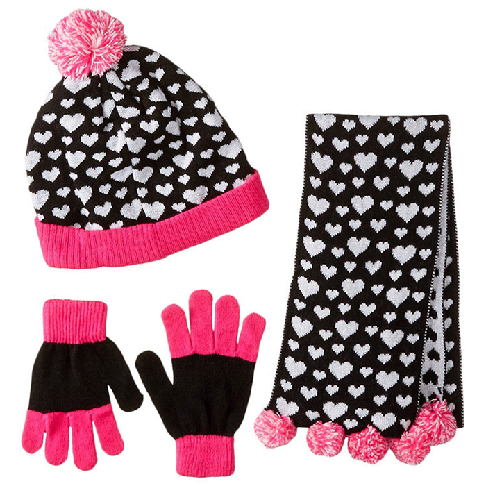 Knitted Scarf Hat Glove Sets Jacquard Beanie Gloves And Scarf For Girls