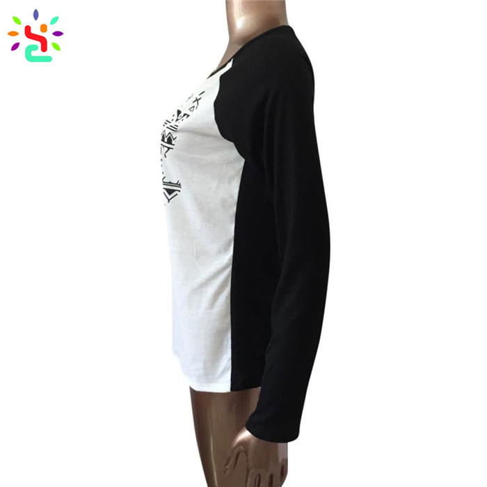 Casual christmas tee shirts women raglan sleeve cotton t shirt round collar Elk long sleeve tops and tees