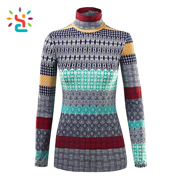 LADY Turtleneck sweater Long Sleeve Pullover t shirt 100 cotton knitted sweater
