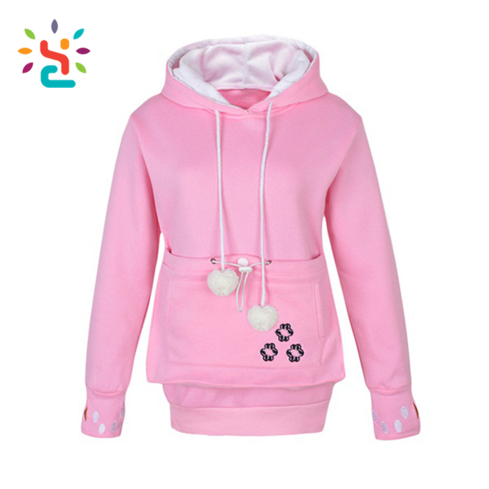 Lovely girls custom cute pink hoodie with two balls China promotion long sleeve polyester pullover girl hoodie factory